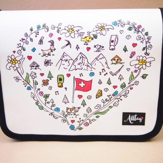Handtaschendeckel gross Schweizer Kollektion - Herz